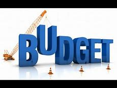Image of the word Budget with crane in the background