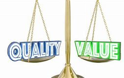 Image of a set of scales one half shows the word quality and the other the word value