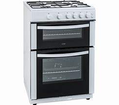 Image of a double oven with metal casing and black doors with glass