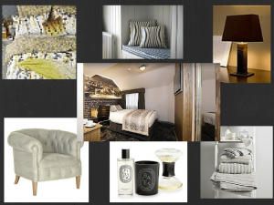 An image of a interior design mood board showing pictures of a design for a boutique hotel tyle bedrrom