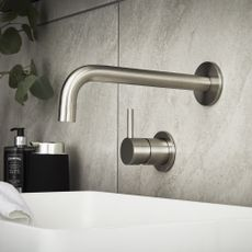 Image of a wall mounted basin mixer tap