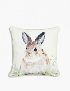 Image of a cushion printed with an image of a rabbit