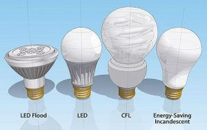 Graphic showing four different types of energy efficient  light bulbs - LED flood, LED CFL and energy saving