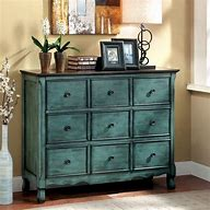 Image of a chest of drawers with 6 drawers. The chest has been upcycled with green/ blue paint