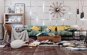 Image of an untidy living room