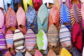 Image of brightly cploured Moroccan leather slippers