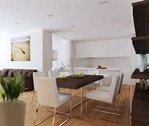 Image of an open plan living space with living area, dining area and kitchen