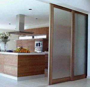 Image of sliding doors between living room and kitchen