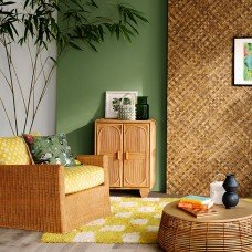 Image of the corner of a room showing a rattan chair, cabinet and coffee table. The wall is painted a soft green and there is a yellow and white checked rug on the floor.