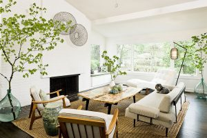 Image of a living room decorated in natural style