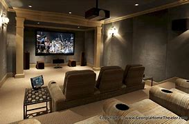 Image of a home cinema room with cinema style seating