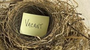 "Image of a bird's nest in which is a yellow Post It note on which is written ""Vacant"""