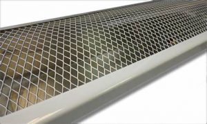 Image of gutters protected with wire mesh