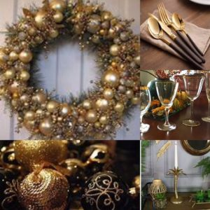 Collage of images of a wreath made of gold and silver baubles, gold cutlery set with black handles, gold rimmed glasses, a candlestick in the shape of a palm tree and a collection of black and gold baubles.
