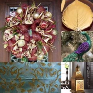 Collage of images of a brightly coloured Christmas wreath with red and gold, leaf shaped gold dinner plate, peacock tree decoration, turquoise fabric with gold embroidery and a Moroccan style lantern