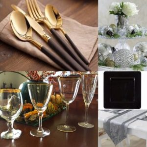 Collage of images of a gold, black and silver Christmas table setting. Includes gold rimmed ribbed glassware, black square charger plate, black and gold cutlery, silver table runner and glass cake stand decorated with silver baubles.