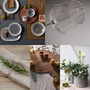 Collage of images of a natural themed Christmas dinner table decor. Stoneware dinner service, ribbed glassware, raffia placemats, linen placemats tied with twine and a sprig of rosemary, and a pot with a hellebore.