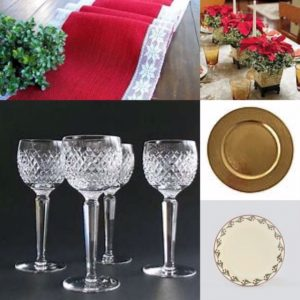 Collage of images for a Christmas table setting. Includes red table runner, poinsettia table centre, crystal glasses, white plate with berry design round the edge and gold charger plate