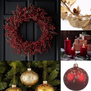 Collage of images of a red berry wreath against a grey door, gold leaf garland, trio of red pillar candles, a red bauble with gold decoration and gold baubles