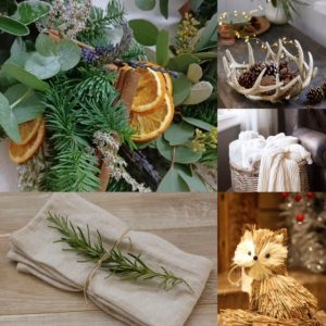 Collage of images of wreath made from pine, eucalyptus and circles of orange, a antler shaped bowl, basket filled with throws, a rustic fox decoration and linen napkin tied with raffia and a sprig of thyme.