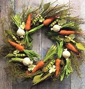 Image of a door wreath with twigs and vegetables such as small carrots and onions