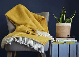 Image of an armchair upholstered in grey draped with a yellow fringed throw. Alongside is a grey plank side table on which  are a pile of books with a plant pot on top