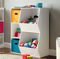 Image of children's storage unit with shelves and baskets in bright colours