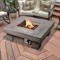 Image of a square firepit on a decked area with chairs surrounding it