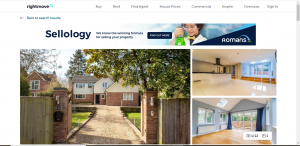 Image of a screenshot from Rightmove showing a property. There are three images one the frontage of the property and the other two internal rooms which are empty