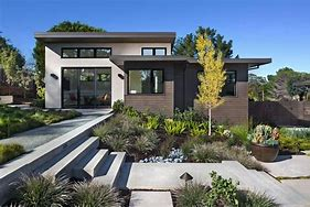 Image of a modern property with landscaped frontage