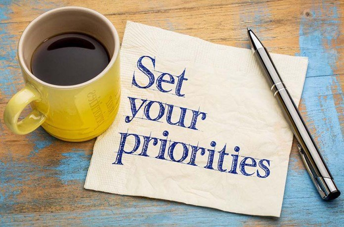 """Image of a table on which is set a mug of black coffee with a piece of paper next to it on which is written """"Set Your Priorities"""" and a pen"""