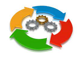 Image of three cogs surround by different coloured arrows in a circular arrangement to signify the idea of processes