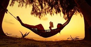 Image of a person lying in a hammock reading. the hammock is slung between two palm trees and the backdrop is a stunning sunset